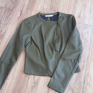 Justfab thin olive green faux leather jacket
